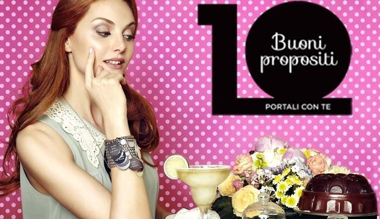 Locandina pubblicitaria a sfondo rosa con ragazza e gioielli