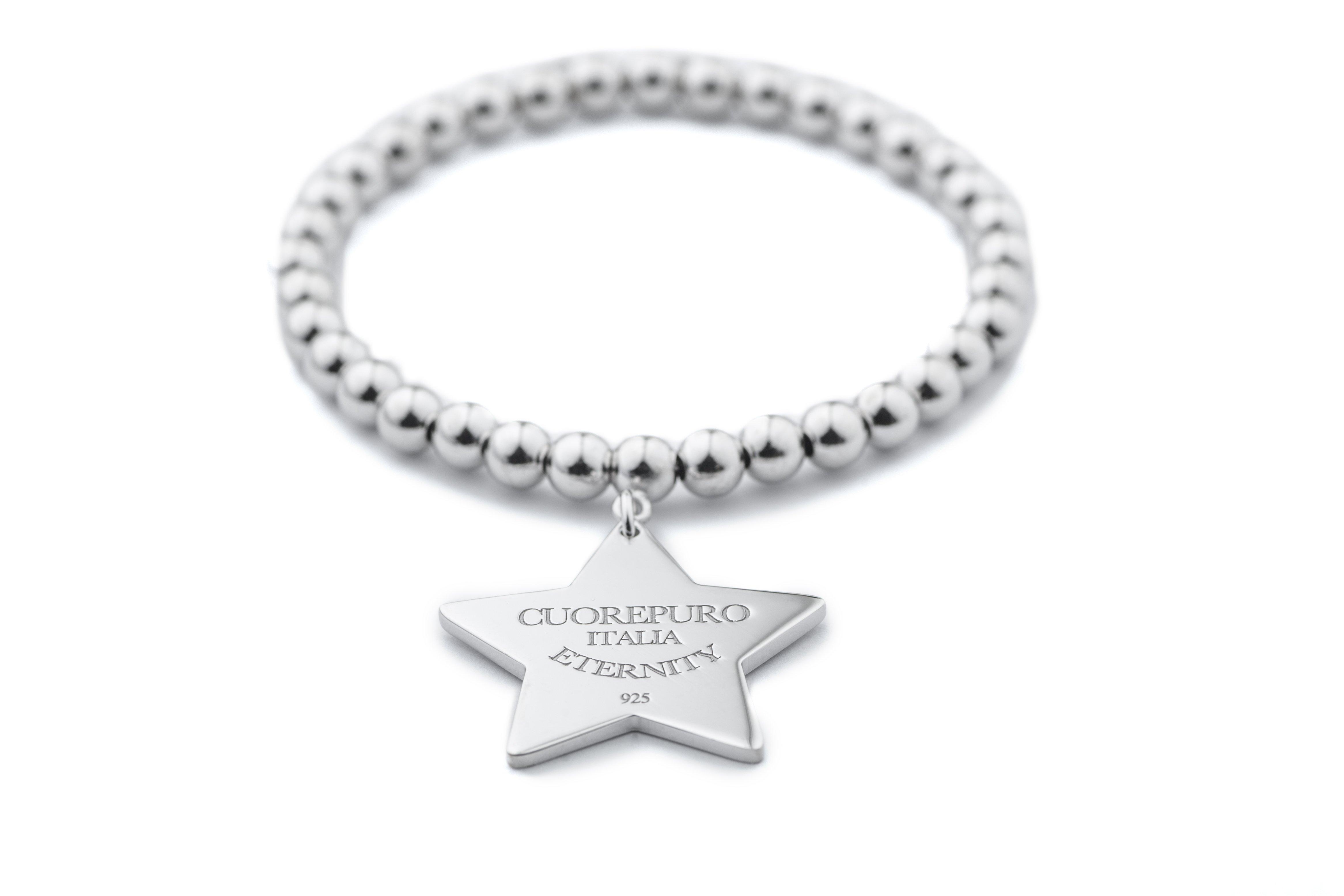 Braccialetto in metallo chiaro con placchetta a forma di stella