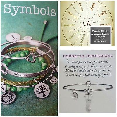 Locandina marca Symbols con tre immagini, una di bracciali a sfondo verde, una gialla con una ruota con raggi, una grigia con bracciale e scritta