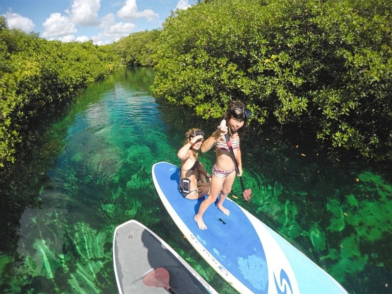 Stand Up Paddle Boarding in Casa Cenote Tulum with Mexican Caribbean Kitesurf