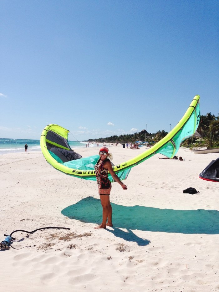 Julia Kitesurfing Instructor Iko Certified in Tulum Beach
