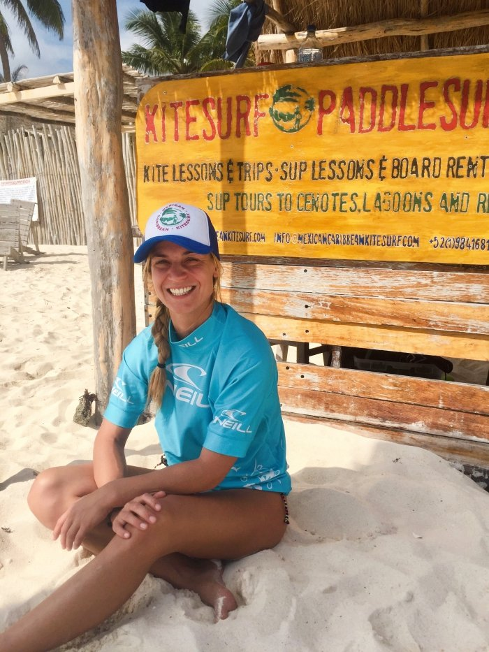 Lianne Kitesurfing Instructor Iko Certified at Mexican Caribbean Kitesurf Spot
