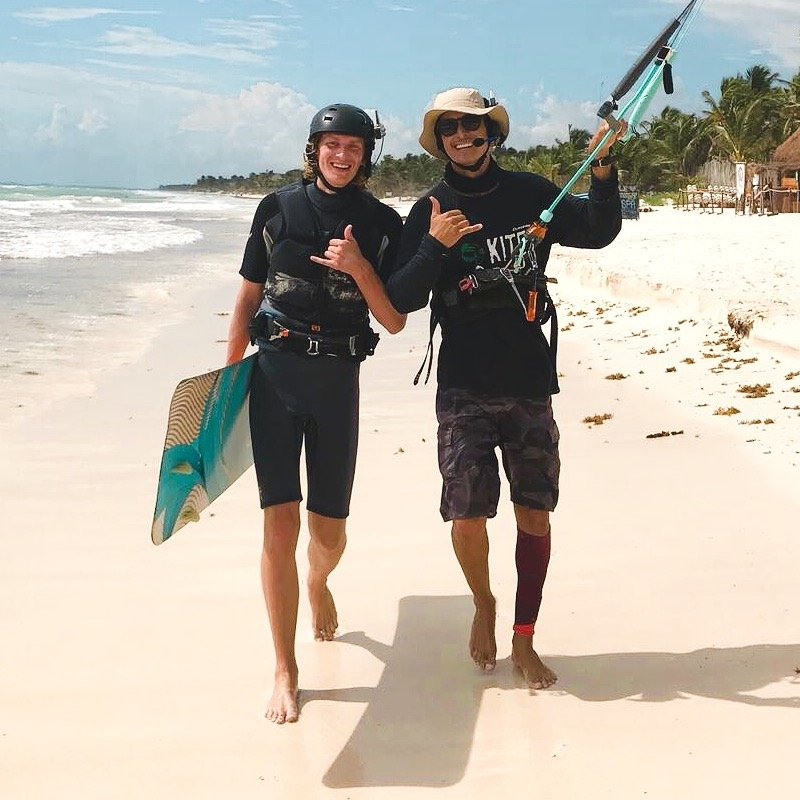 Radio Helmet Kite Lessons. Learn to Kitesurf in Tulum.