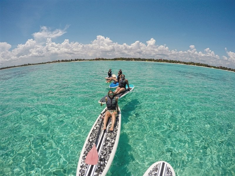 Stand Up Paddle Boarding SUP Tour to Soliman Bay Tulum Mexico
