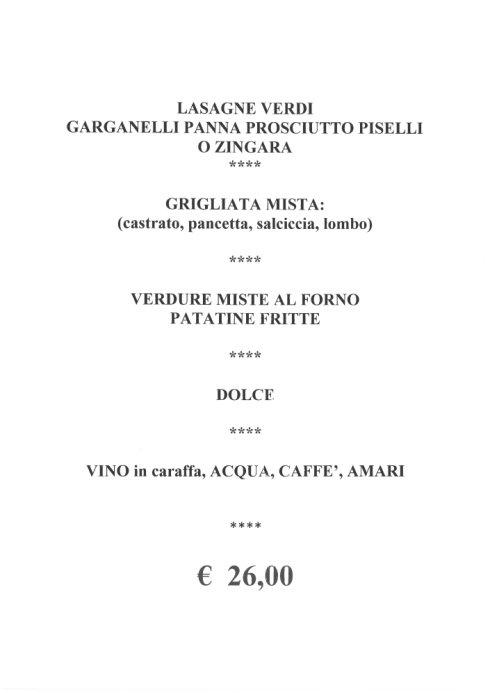 menù fisso a 26 euro