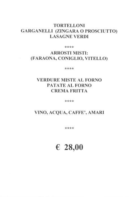 menù fisso a 28 euro
