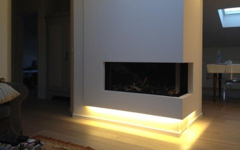 Illuminated fireplace