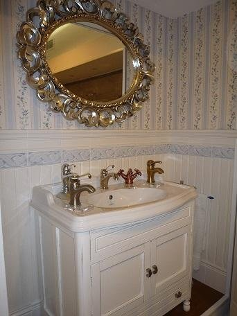 wood and marble bathroom cabinet