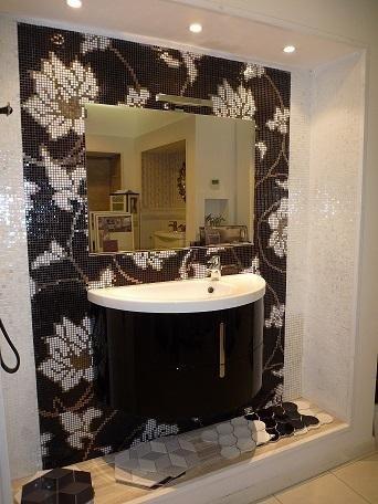 glossy black wood cabinet
