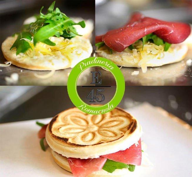 le fasi della preparazione di un panino con bresaola e insalata