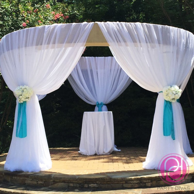 wedding draping, fabric draping, chuppah, fayetteville fabric draping, canopy draping, wedding ceremony drapes, ceremony draping