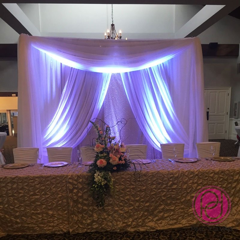 head table draping, backdrop draping, draping, wedding draping, reception draping