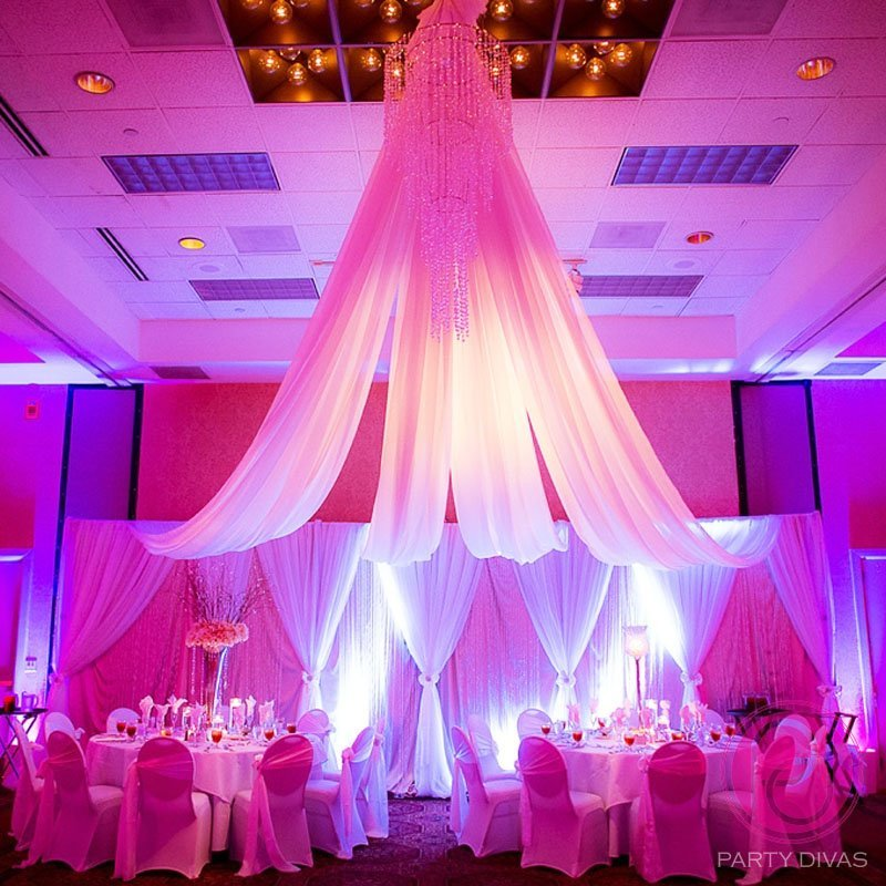ceiling draping, wedding draping, head table draping, wedding draping