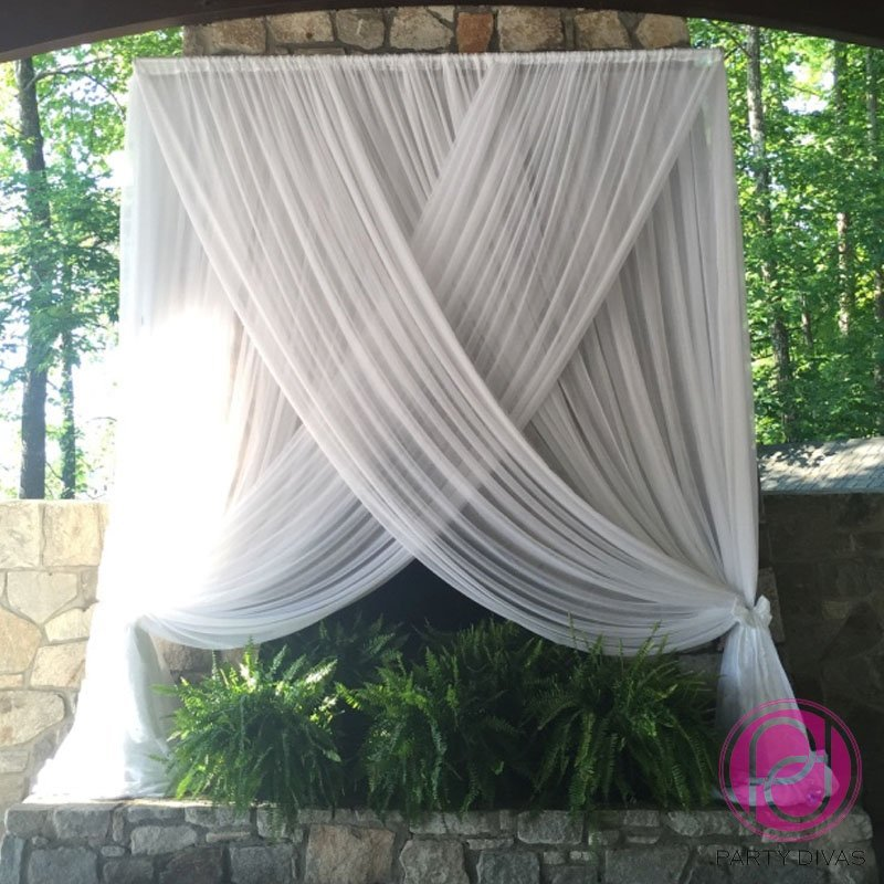 ceremony draping, backdrop draping, wedding draping,