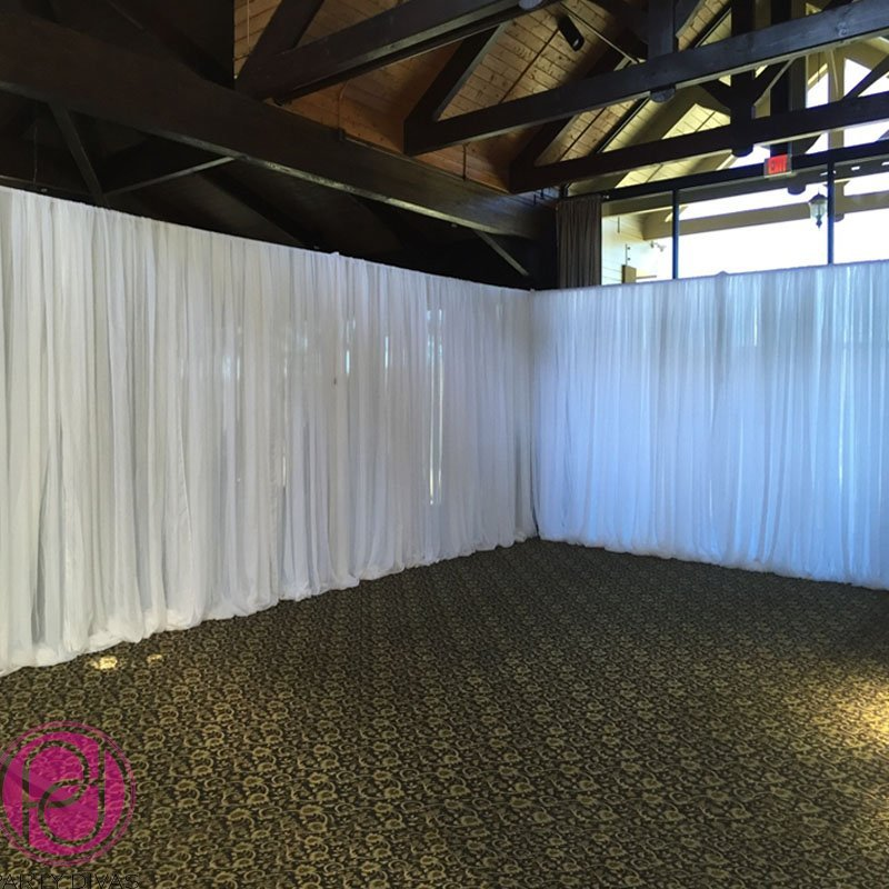 room draping, wall draping, sheer draping, wedding drapes, reception drapes, Atlanta wedding drape