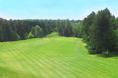 View of the golf course track at Priors Hall Golf Club