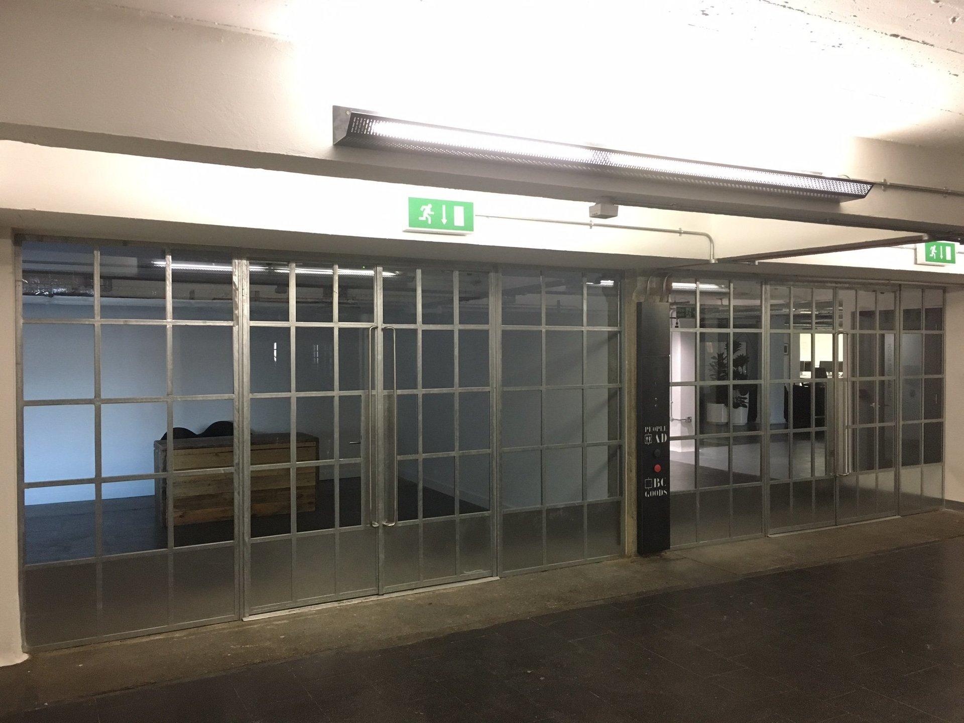 A steel framed window pane