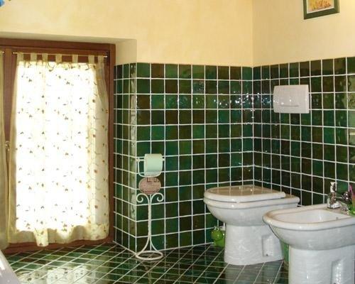 Rivestimento con mattonelle verdi per bagno