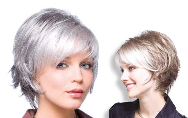 Due parrucche con taglio corto in capelli sintetici