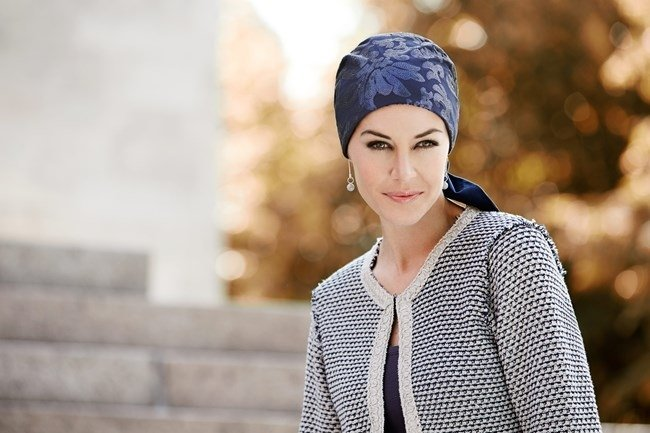 Turbante Fair Fashion blu con nastri