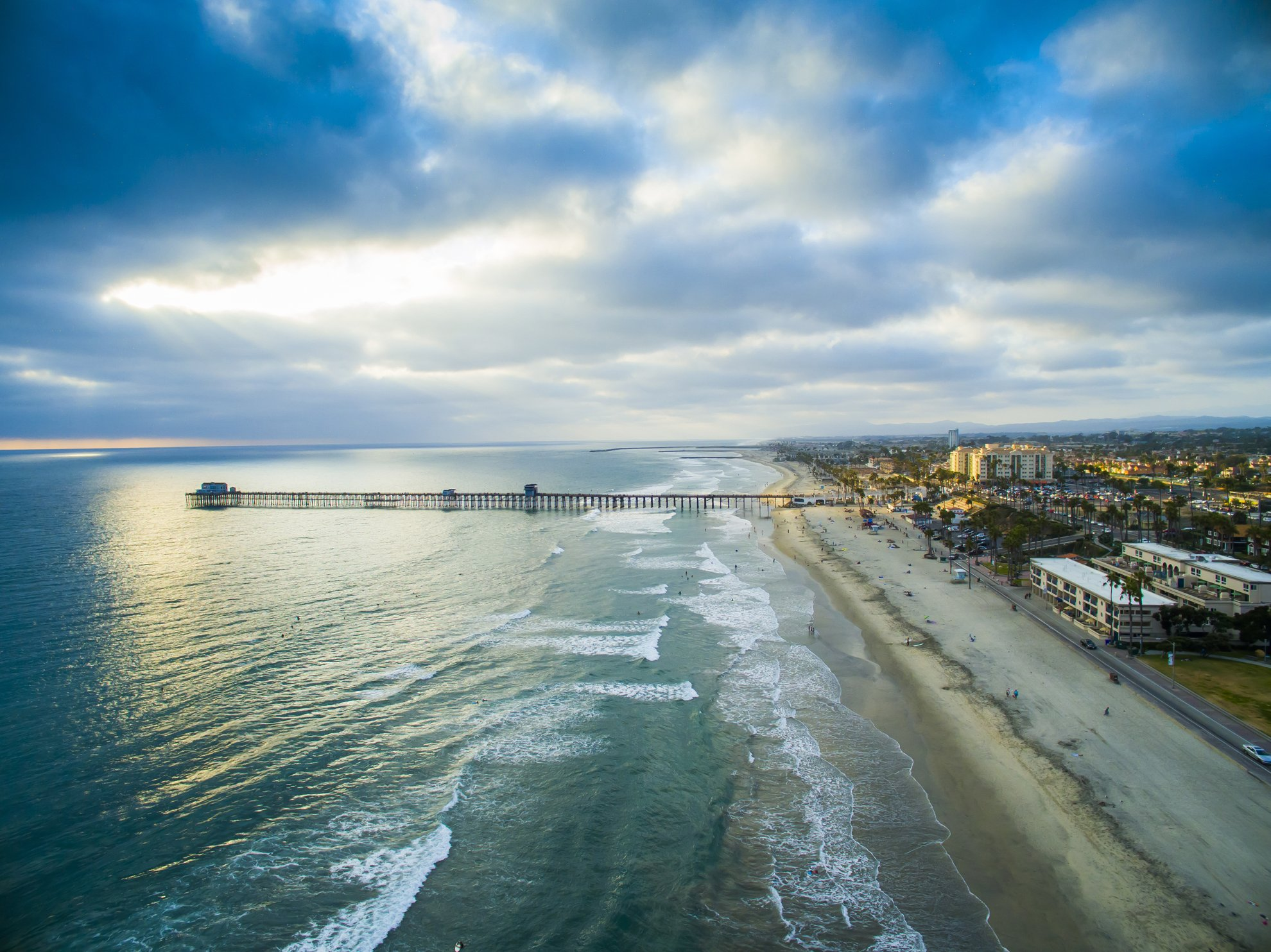 Aerial Drone Photography Of Oceanside California At Sunset