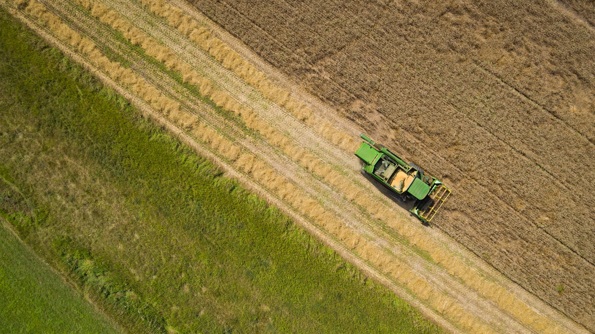 Aerial Drone Photography Of Wheat Harvester