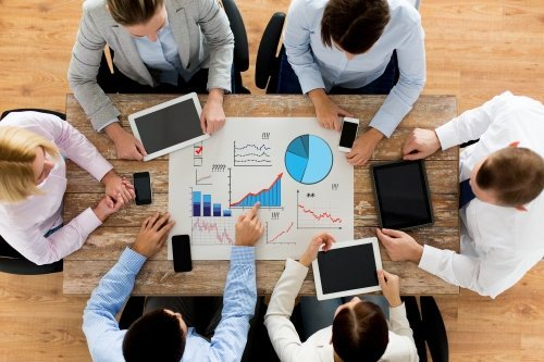 statistics and team work concept