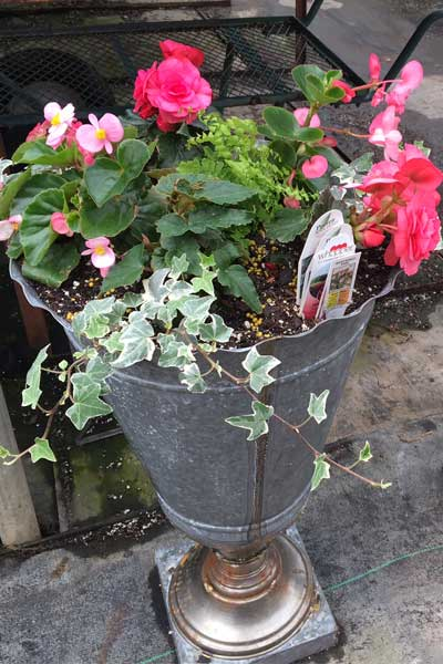 large metal floral container