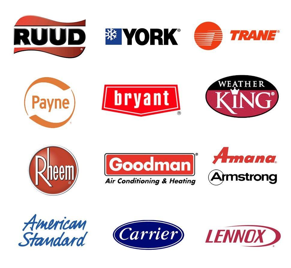 Ruud, York, Trane, Payne, Bryant, WeatherKing, Rheem, Goodman, Amana, Carrier, Lennox, American Standard Heating & Cooling