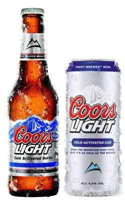 Coors light cold activated bottle and can available in Kihei, HI