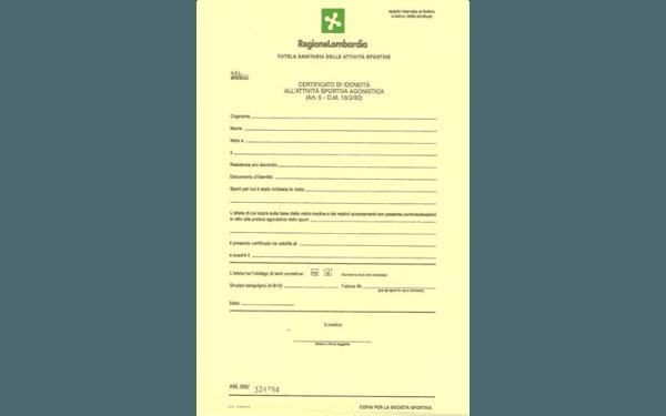 certificazione di idoneità all'attività sportiva agonistica