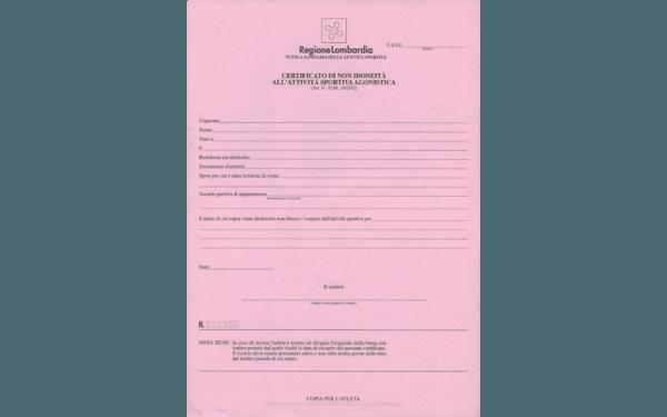 Certificazione di non idoneità all'attività sportiva agonistica