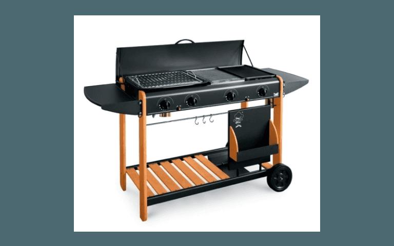 moderno barbecue con dettagli in legno