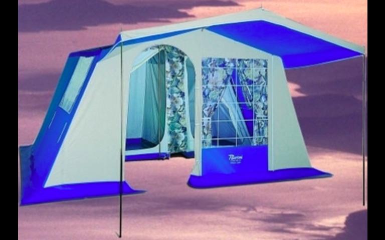 esterno di una tenda blu