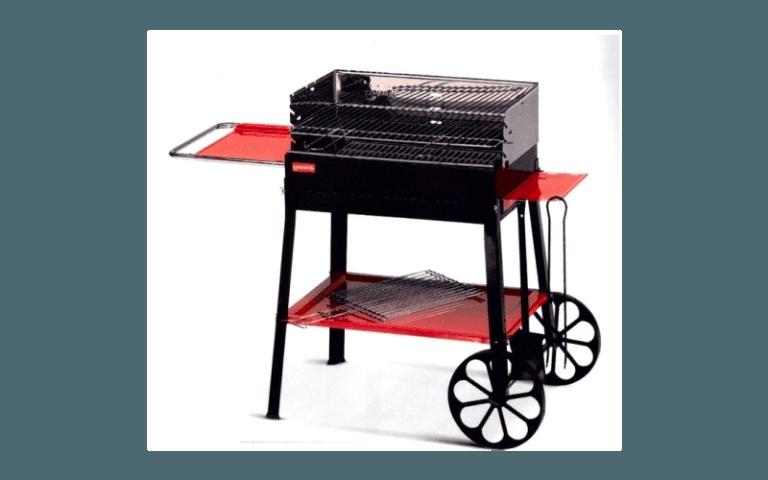 barbecue rosso con rotelle