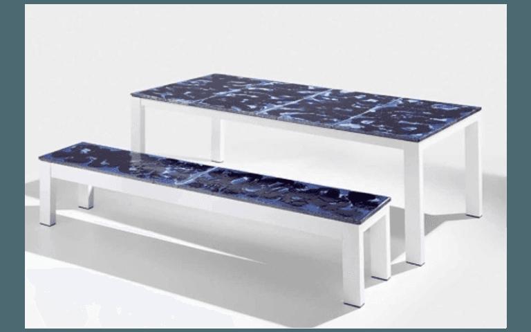 tavolo con panchina per esterni