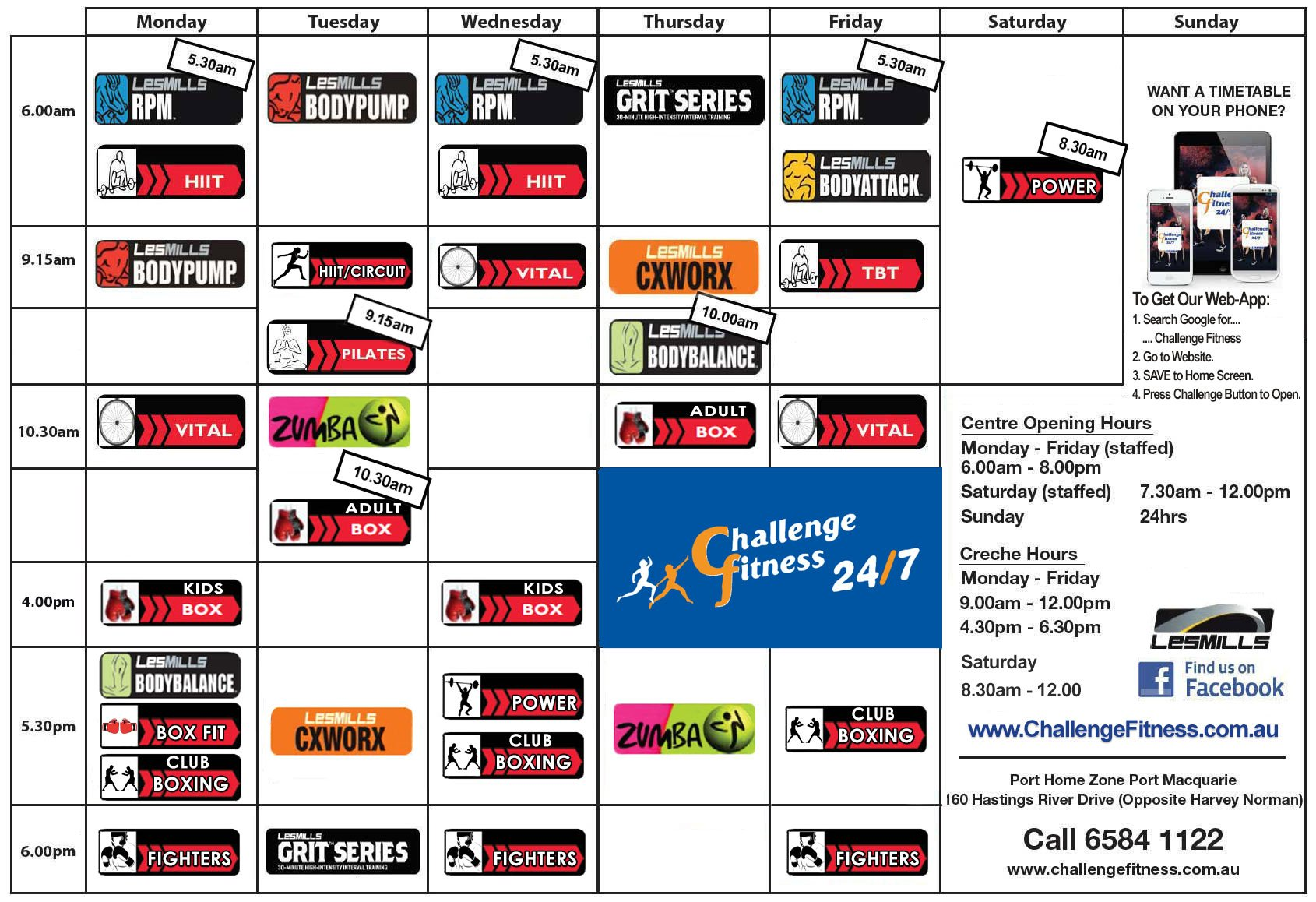 November 2017 Challenge Fitness Classes Timetable