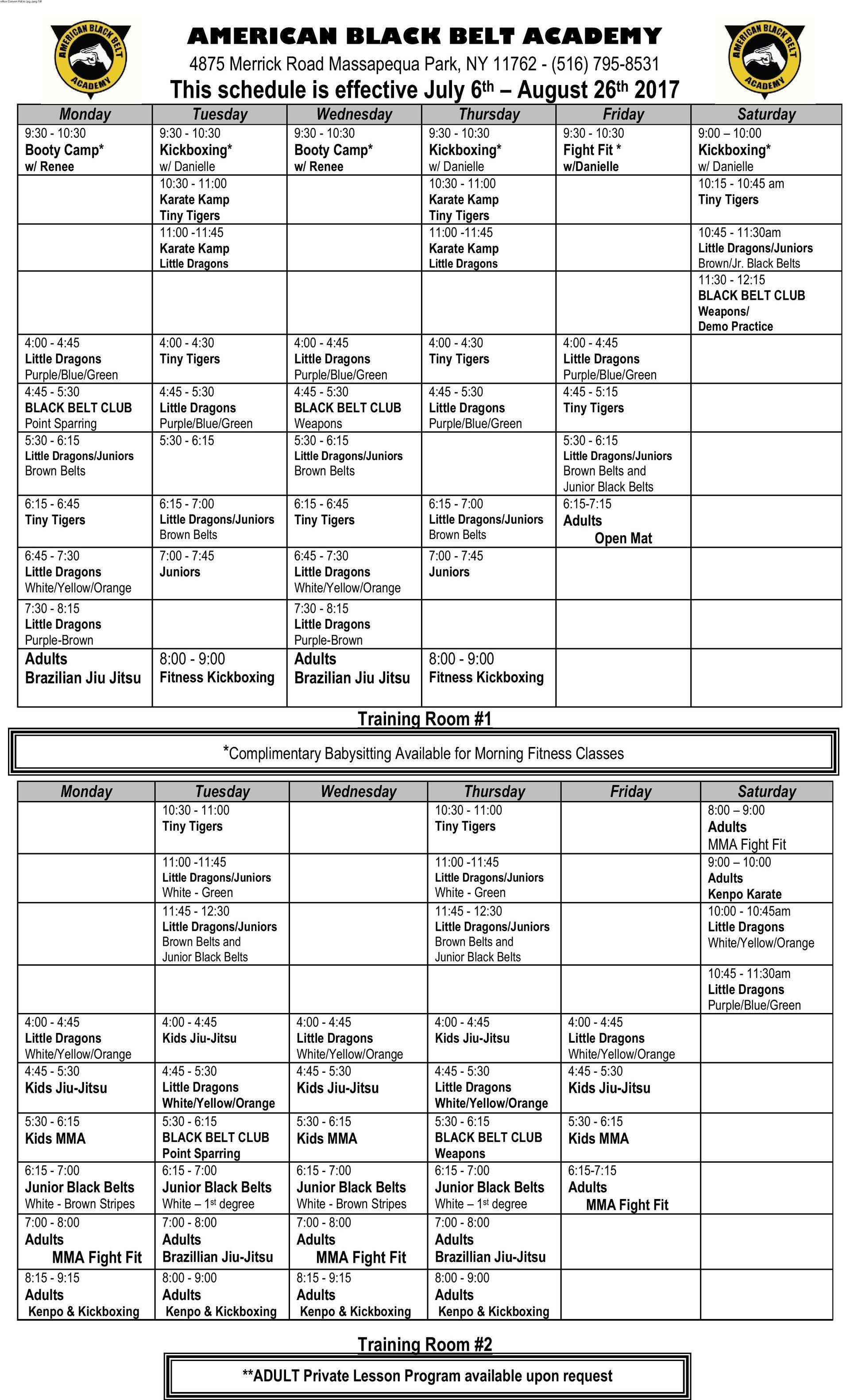 Summer Martial Arts Schedule 2017 - Massapequa Park, NY