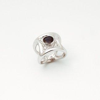 Anello pavé di diamanti e zaffiro
