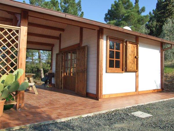 villa in legno con travi a vista