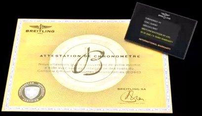 Breitling international warranty booklet