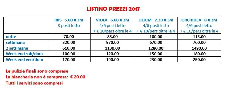 listino prezzi 2017