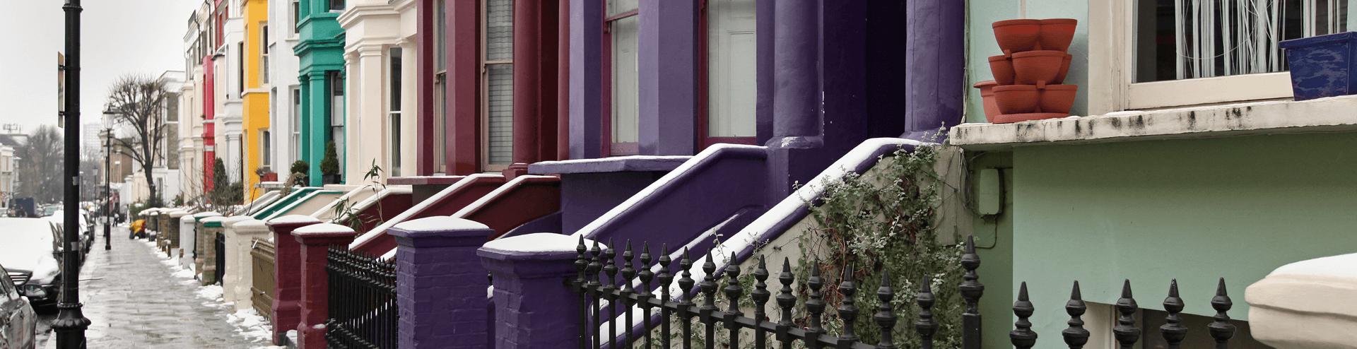 Row of coloured houses
