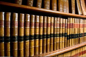 Leather bound reference books in library