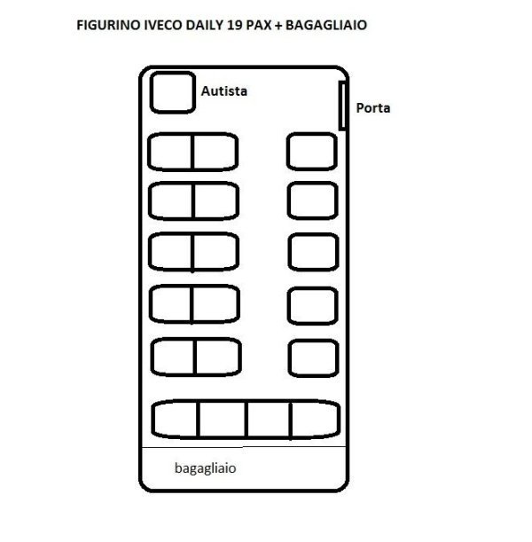 Disposizione posti minibus Iveco Daily 19-22 passeggeri