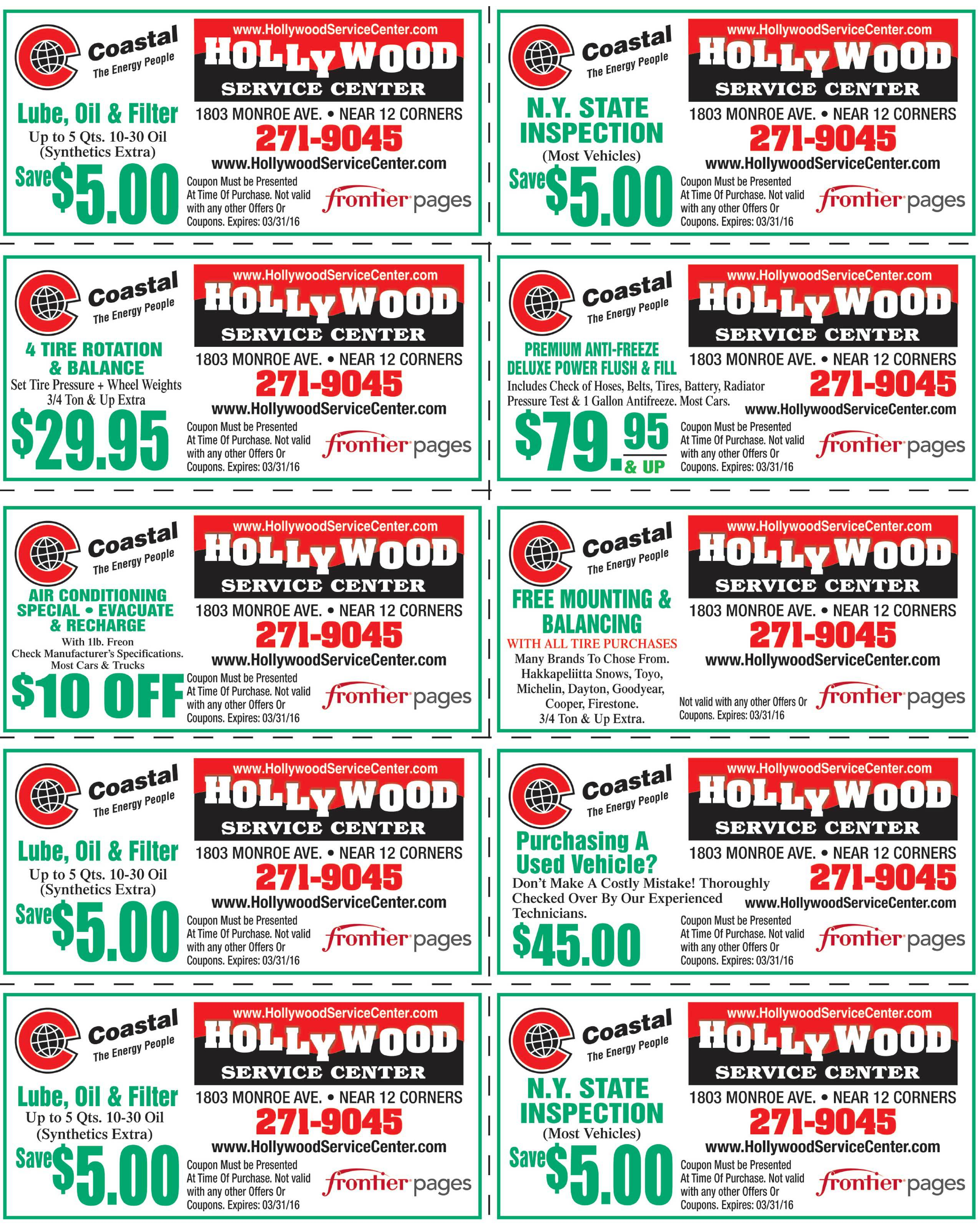 Coupons for Hollywood Service Center in Rochester, NY