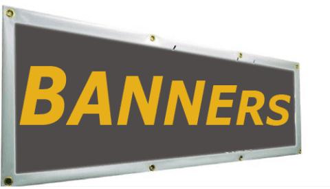 un cartello con scritto Banners