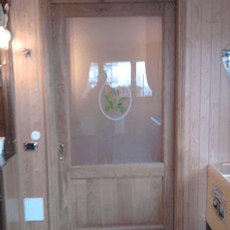 Porta interna con inserti in vetro decorato