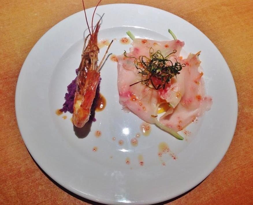 carpaccio di pesce spada agli agrumi e gambero rosa
