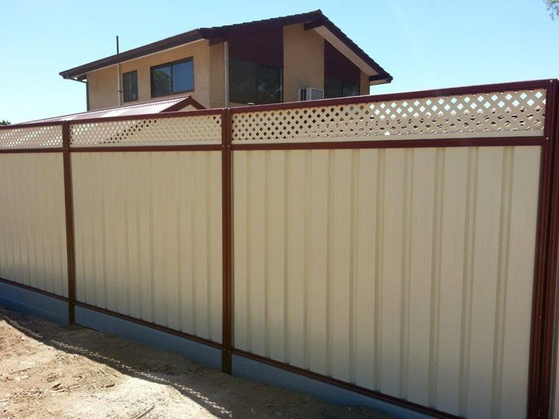 cream fence with lattace